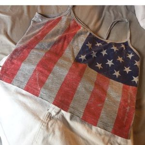 Tops - Worn out American flag tank !